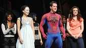 Spider-Man&#39;s T.V. Carpio, Spidey understudy Matt Caplan and Jennifer Damiano greet the crowd before making a special announcement. 