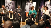 Kenny Leon, Samuel L. Jackson and Katori Hall listen intently as leading lady Angela Bassett discusses her illustrious career.
