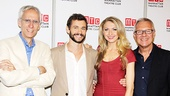 The Venus in Fur dream team of playwright David Ives, stars Hugh Dancy and Nina Arianda and director Walter Bobbie are all smiles at a press event for the play.
