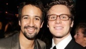 """Lin-Manuel Miranda pals around with Jonathan Groff. Miranda even posted a humorous video from the night of the duo singing Adele's """"Rolling in the Deep"""" on his Twitter page!"""