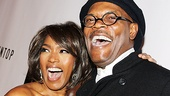 Angela Bassett and Samuel L. Jackson are all smiles as they arrive at The Mountaintop&#39;s opening night party at Espace. 