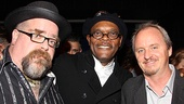 The Mountaintop's set and projection designer David Gallo and lighting designer Brian MacDevitt sandwich the show's leading man, Samuel L. Jackson.