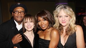 Samuel L. Jackson and Angela Bassett are congratulated by The Mountaintop's lead producers Jean Doumanian and Sonia Friedman.