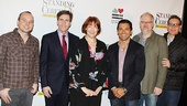 Standing on Ceremony cast members Harriet Harris and Mark Consuelos hop in for a photo with contributing playwrights Jordan Harrison, Paul Rudnick, Doug Wright and Moises Kaufman.