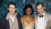 Broadway-bound star Nick Jonas congratulates Montego Glover and Chad Kimball, who are celebrating two years together on Broadway in Memphis. 