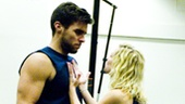 Patti Murin motivates her on stage boyfriend Josh Segarra before he heads off for an important basketball game.