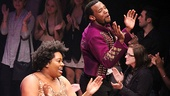 Godspell cast members Celisse Henderson and Wallace Smith sing out to the opening night audience.