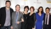 The cast of Standing on Ceremony: The Gay Marriage Plays (Craig Bierko, Richard Thomas, Beth Leavel, Harriet Harris, Polly Draper and Mark Consuelos) comes together for a group shot.