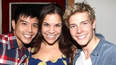 Telly Leung and Hunter Parrish sandwich their lovely co-star Lindsay Mendez.
