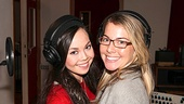 Anna Maria Perez de Tagle and Morgan James cozy up inside the recording studio.