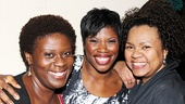 Silence!'s Deirdre Goodwin throws her arm around supportive pals Capathia Jenkins and Aisha de Haas.