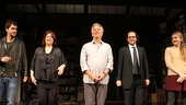 Playwright Theresa Rebeck and director Sam Gold join Hamish Linklater, Alan Rickman and Lily Rabe onstage at the Golden Theatre.