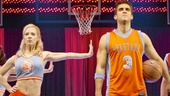 Patti Murin as Lysistrata Jones and Josh Segarra as Mick and cast in Lysistrata Jones.