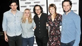 Adam Driver, Sarah Goldberg, Charlotte Parry and Matthew Rhys pose with Look Back in Anger director and Roundabout associate artist Sam Gold.