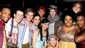 Wallace Smith, Nick Blaemire, Hunter Parrish, Lindsay Mendez, Telly Leung, Anna Maria Perez de Tagle, celebrity guest Nick Jonas, Morgan James, Celisse Henderson, George Salazar and Uzo Aduba are all smiles backstage at Godspell. 