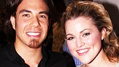 Apolo Anton Ohno gets close to Spidey's leading lady Rebecca Faulkenberry, who plays Mary Jane.