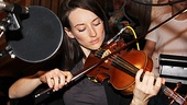 Actress Elizabeth A. Davis has her violin all mic-ed up and ready to rock. 