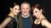 Chicago composer John Kander poses with Broadway leading ladies Bianca Marroquin (Roxie Hart) and Donna Marie Asbury (who went on as Velma Kelly).