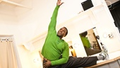 After a good meal, Henry likes to do a pre-show warmup and workout before taking the stage in Porgy and Bess.
