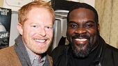 Jesse Tyler Ferguson and Phillip Boykin pal around backstage at the Richard Rodgers Theatre.