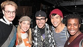 Project Runway's Austin Scarlett (l.) Mondo Guerra (c.) hang with Godspell's Morgan James, Telly Leung and Uzo Aduba.