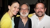 The star puts her arm around John Weidman, who revised the book for the revival of Anything Goes, and production stage manager Peter Hanson.