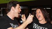 Wickeds Fiyero and Elphaba, Richard H. Blake and Jackie Burns, ham it up for our camera...