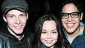 Godspell stars Hunter Parrish, Anna Maria Perez de Tagle, George Salazar and understudy Julia Mattison are all smiles listening to the smooth sounds of friend Nick Blaemire.