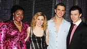 Ghost stars DaVine Joy Randolph, Caissie Levy, Richard Fleeshman and Bryce Pinkham celebrate a show well done. 