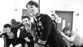 Peter and the Starcatcher Rehearsal  Christian Borle with ship on Back