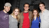 Backstage, Groff is surrounded by Carrie cast members Ben Thompson, Jeanna de Waal, Christy Altomare and Derek Klena.