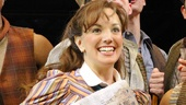 Kara Lindsay as Katherine Plumber and the cast of Newsies.