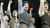 Matthew Schechter as Les, Jeremy Jordan as Jack Kelly, Ben Fankhauser as Davey and Andrew Keenan-Bolger as Crutchie with the cast of Newsies.