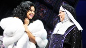 Raven-Symon shares a special opening night moment with her Mother Superior, Carolee Carmello. 