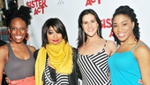 Kimberly Marable, Alena Watters and Rashidra Scott embrace their new leading lady Raven-Symoné on her opening night.