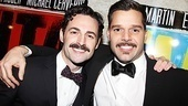 Evita's handsome mustached men, Max von Essen and Ricky Martin, pal around on the red carpet.