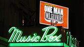 One Man, Two Guvnors opening night  Music Box Theatre marquee
