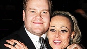 James Corden gets an opening night hug from another Britain-to-Broadway powerhouse: End of the Rainbow star Tracie Bennett. 