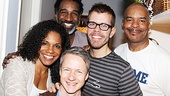 Porgy and Bess trio of stars Audra McDonald, Norm Lewis and David Alan Grier surround theater vet John Cameron Mitchell and celeb blogger Perez Hilton.