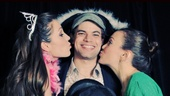 Jeremy Jordan is the luckiest pirate around as he gets smooched by Laura Osnes and Kara Lindsay. 