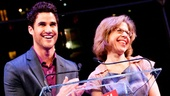 "Host Darren Criss and ""substitute award accepter"" Jackie Hoffman congratulate the winners and invite everyone to enjoy the after party!"