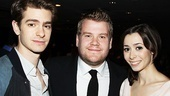 Death of a Salesman's Andrew Garfield, One Man, Two Guvnors' James Corden and Once's Cristin Milioti hobnob at the awards.