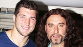 Tim Tebow and Adam Dannheisser (who plays Dennis Dupree, owner of the Bourbon Room) come in close for a photo.