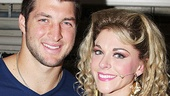 Tim Tebow is all smiles with Rock of Ages' new Sherrie, Ashley Spencer. Follow Tebow's lead and see Rock of Ages at the Helen Hayes Theatre!