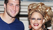 Tim Tebow greets Rock of Ages powerhouse Michele Mais (Justice) backstage.