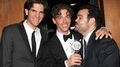 Peter and the Starcatcher co-director Alex Timbers and cast member Greg Hildreth surround Tony winner Christian Borle with love.