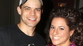 Next stop, Newsies! Winokur meets leading man Jeremy Jordan (who looks awesome in his Bonnie &amp; Clyde T-shirt) backstage after the show.