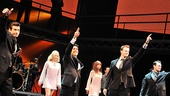 The cast of Jersey Boys salute the audience at the August Wilson Theatre. 