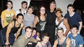The handsome young cast of Newsies surrounds Silence! stars Jenn Harris and David Garrison.