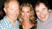 Jesse Tyler Ferguson and Richard Kind flank their sexy stage secretary, Rebecca Romijn. Congratulations to the rip-roaring cast of The Producers!